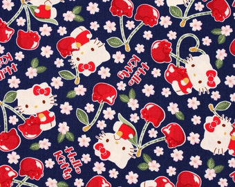 "Hello Kitty Character Fabric made in Japan, 45cm by 53cm or 18"" by 21"""