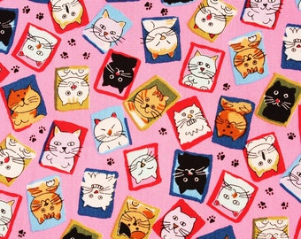 Various Cat face Cotton Fabric made in Japan by the Half Yard