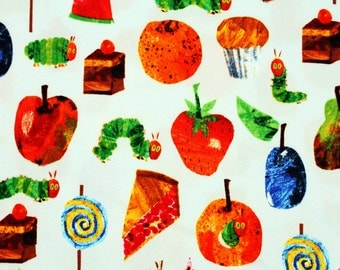 "The Very Hungry Caterpillar Character Oxford Fabric by Eric Carle made in Japan, FQ 45cm by 53cm or 18"" by 21"""