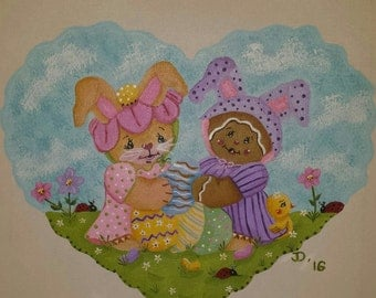 Easter painting, Bunny Painting, Bunny and Gingerman painting, 10x10 Easter painting, Spring Painting, Easter Bunny painting, Easter Canvas