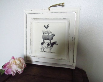 Vintage Inspired Metal Sign - Farm Animals