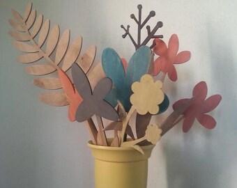 Bouquet of flowers in wood