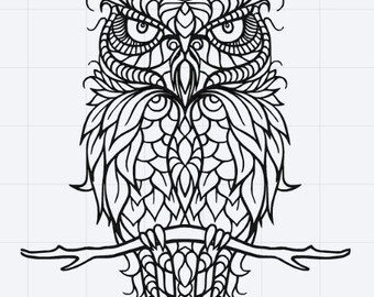 Mandala Owl Design SVG EPS DXF Studio 3 Cut File