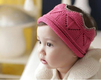 Kids Crochet Crown, Kids Knitted Crown, Children's Crown, Birthday Crown, Halloween crown, Photo Prop, Kids Pink/Blue/Black Crown