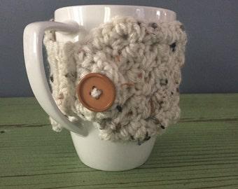 Speckled Tan Crochet Mug Cozy, Mug Cozy, Mug Sweater, Tan Mug Cozy