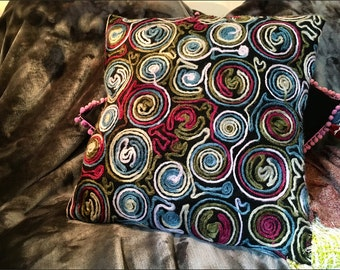 Felted squiggle funky cushion cover