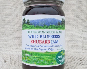 blueberry rhubarb jam/rhubarb jam/wild blueberry jam/Maine wild blueberry jam/rhubarb fruit spread/berry jam/wild berry jam/blueberry jam