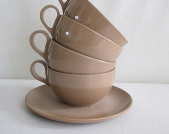 Vintage Brown Melmac Cups and Saucer