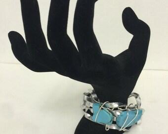 "Handmade Cuff Bracelet Turquoise 8"""