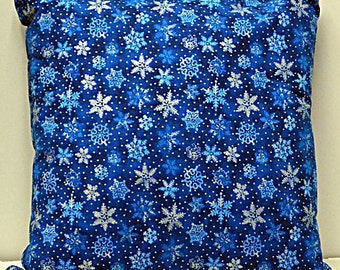 "Blue Snowflake Pillow 14""x14"""
