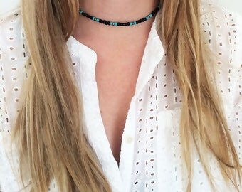 Black and turquoise beaded choker, turquoise beaded choker, black beaded choker, turquoise beaded necklace, turquoise choker necklace