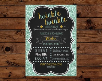 Twinkle Twinkle First Birthday Invitation