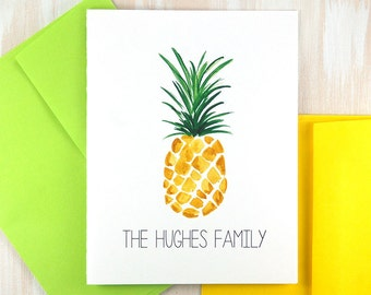 Pineapple Stationary, Personalized Stationary Set, New Home Gift, Housewarming Gift, Custom Stationary, Thank You Note Cards, Set of 10