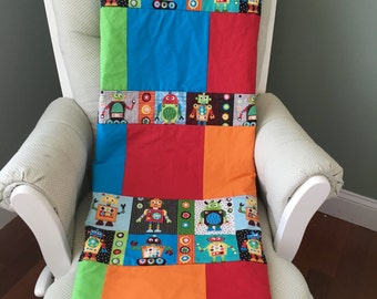 Bold Robots, primary colors, child lap quilt  *ready to ship*