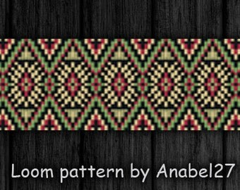 Loom bead pattern - Square stitch pattern -  ethnic style - bracelet pattern  - beaded pattern #68