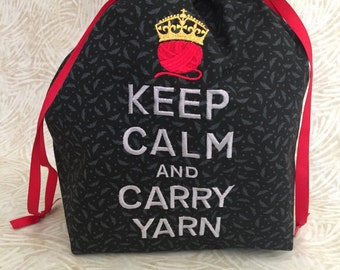 Knitting Project Bag - Large - Keep Calm and Carry Yarn