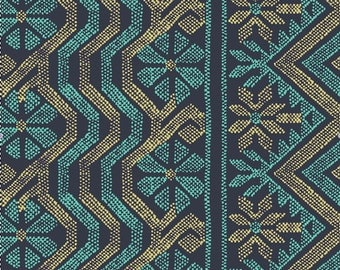 Freespirit Fabric- Bright Heart-Cosmo Weave Midnight - Amy Butler