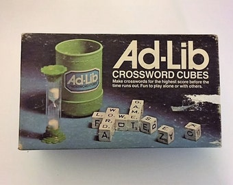 Vintage Ad-Lib Crossword Cubes Game