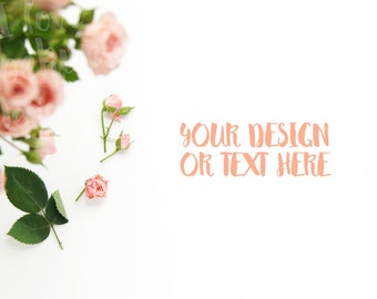 Roses on a White Desktop #2 / Stock Photography / Product Mockup / High Res File