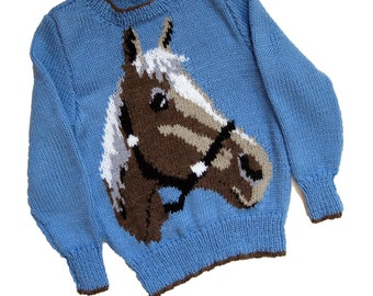 Knitting Pattern With Animals Motifs On : Intarsia horse Etsy