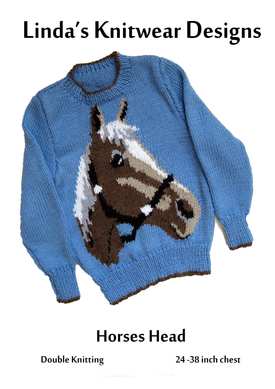 Childrens and Adult Horses Head Motif sweater knitting pattern, sizes 24 to 3...