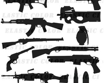 Gun svg silhouette - Guns vector files  collection digital download, svg, dxf, eps, png