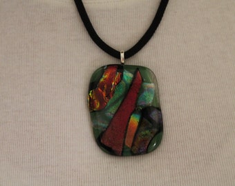 Fused Dichroic glass with metal bail