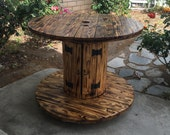Coffee table, wooden coffee table, up-cycled furniture, wooden spool table, industrial furniture, reclaimed table, dining table, outside