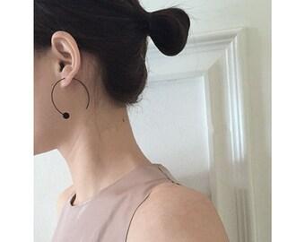 Jewelry ear minimalist, geometric, Circle unfini, black