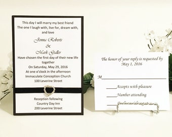 Black & White Wedding Invitation Set With Heart Shaped Ribbon Slider