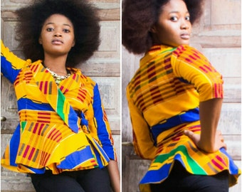 Kente Print Wrap Jacket