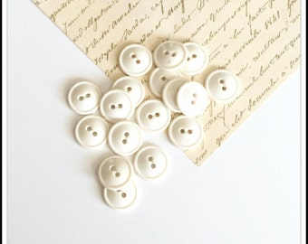 8 Vintage White Plastic Sew Through Buttons - Sewing & Crafts