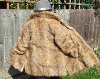 Vintage Mink Coat M. Michaels Real Fur Honey Beige Size 14 Autumn Winter Fashions