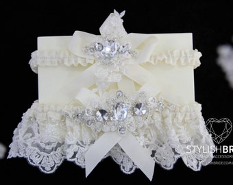 Wedding Garters Set Ivory Lace, Lace Ivory  Wedding Garter, Wedding Lace Garter, Lace Crystal Wedding Garter Set, Lace Wedding Garter Set