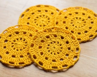 Yellow Crochet Coasters or Doilies - Set of 4
