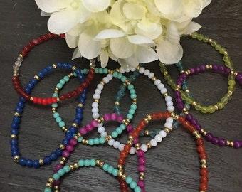 Glass Bead Stretch Bracelets