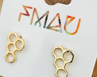 Honeycomb Stud earrings mini food jewelry jewellery gift idea girl cute fun