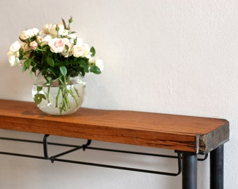 Recycled hardwood hall entry table on steel metal frame