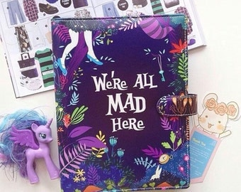 Planner a5 size 6 ring with Alice in Wonderland