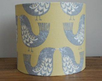 Handmade Lampshade Scandi Birds Mustard