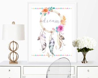 Dream Catcher Art, Tribal wall print, dream print, digital download, printable 8x10, home decor, Wall art print, Flower print, boho print