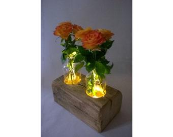 Decoration / vase old wood with indirect LED lighting