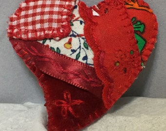 Red Patchwork Aromatherapy Pin -- Hand Appliqued and Embroidered