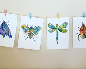 Watercolour (watercolor) geometric insect prints dragonfly, moth, beetle, bee watercolour and ink prints with aztec geometric line patterns