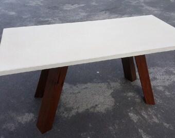 Concrete coffee table gfrc hardwood legs indoor outdoor polished