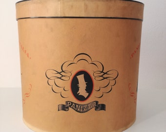 Panizza Hat-box. 1960s. Cardboard hat box. Vintage decor. Vintage storage. Retro ornaments. Italian decor. Antique