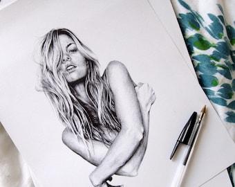 Ballpoint Pen Illustration, Original Artwork, Portrait Drawing