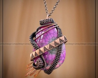 Woman Dragon Vessels Bright Agate Necklace,Pink Stone Pandant,Copper Wire Wrapped Pendant,Naturel Stone,Cyrstal,Healing