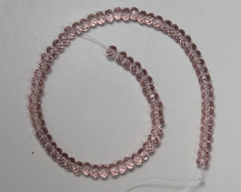 6mm Chinese Crystal Light Rose Fire Polished Beads