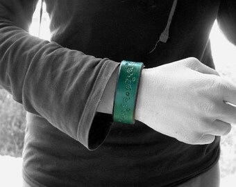 Bottle green Bangle / Cuff / leather bracelet -- handmade out of leather